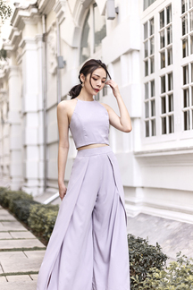 ASTREA HALTER NECK TOP (MAUVE GREY)