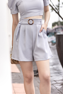 CAELIA BELTED HIGH WAIST SHORTS (PALE BLUE)