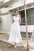 MACAYLA TIE STRING MIDAXI DRESS (WHITE)