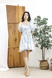 CANDICE PUFF SLEEVES DRESS (BLUE FLORAL)