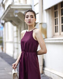 WAVERLYNN HALTER NECK SHIFT DRESS (WINE)