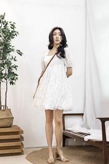 HERMIONE TIERED BABYDOLL DRESS (WHITE)