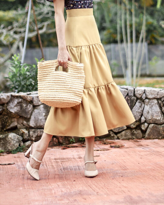 SOPHIE TIERED MIDI SKIRT (MELLOW YELLOW)