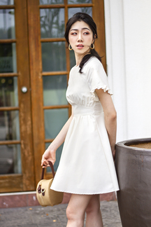 VERLA FRILL SLEEVES DRESS (IVORY)