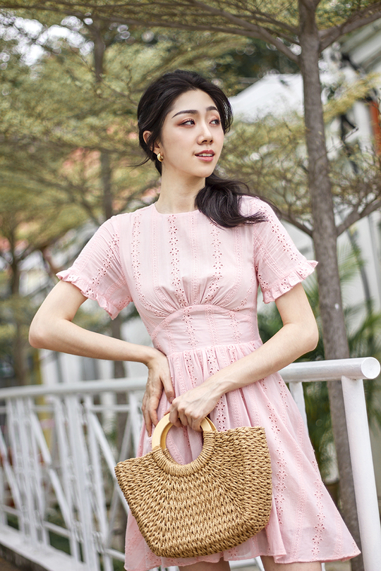 VERLA FRILL SLEEVES DRESS (PEACH PINK)