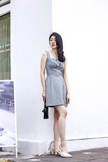LEONA SQUARE NECK DRESS (HOUNDSTOOTH)