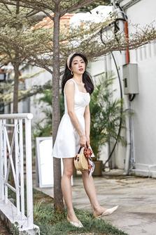 LEONA SQUARE NECK DRESS (WHITE)