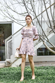MYLIE RUCHED FRILL DRESS (PINK FLORAL)