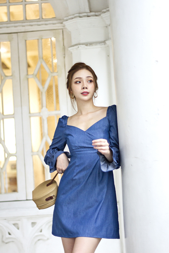 TAYLEN LONG SLEEVES DRESS (BLUE)