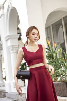 FAWNE SWEETHEART CROP TOP (MAROON)