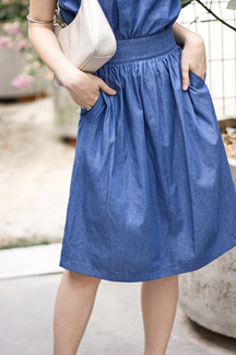 KENNIE POCKET PAPERBAG SKIRT (BLUE)