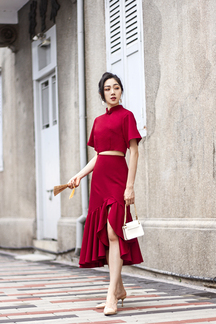 HANNAH SLIT RUFFLES MIDI SKIRT (RED)
