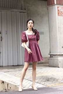 POPPIE PUFF SLEEVES BABYDOLL DRESS (MAGENTA)