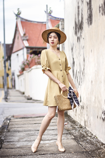 SORREL BUTTON DOWN DRESS (MELLOW YELLOW)