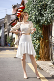 DION HI-LO FLARE SKIRT (WHITE)