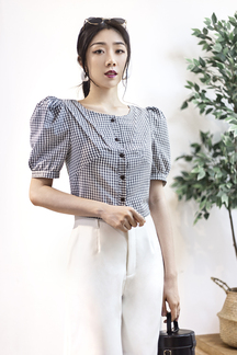 CARY BUTTON DOWN BLOUSE (GREY GINGHAM)
