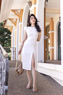 BEVELIA CAP SLEEVES SHEATH DRESS (WHITE)