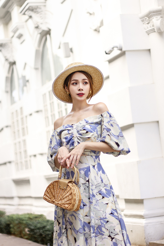 SYLVEN RUCHED PUFF SLEEVES TOP (FLORAL)