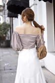 SYLVEN RUCHED PUFF SLEEVES TOP (TAUPE)