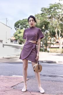 ALVA CROSSOVER SKIRT (PLUM)