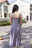 ANIELLA SIDE SLIT FLARE MIDAXI DRESS (PERIWINKLE)