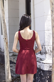 EDINA ROUND NECK MINI DRESS (MAROON)