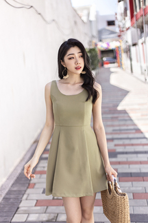 EDINA ROUND NECK MINI DRESS (OLIVE)