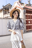 DELINA TWIST FRONT BALLOON SLEEVES TOP (STRIPES)