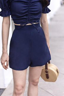 AVIS HIGH WAISTED SHORTS (NAVY BLUE)