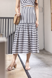 ASHBY DROP WAIST MIDI SKIRT (GREY STRIPES)