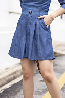 MADY HIGH WAISTED SHORTS (BLUE)