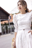 PRESLEY MUTTON SLEEVES TOP (WHITE)