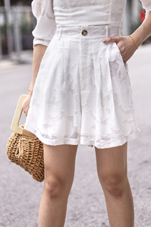 MADY HIGH WAISTED SHORTS (WHITE)