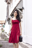 SHEYA RUCHED SIDE SLIT DRESS (MAROON)