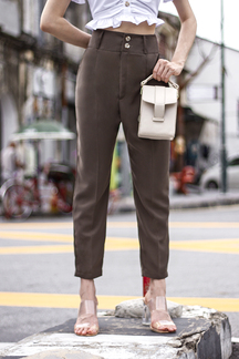 BERLIN PEG LEG PANTS (OLIVE BROWN)