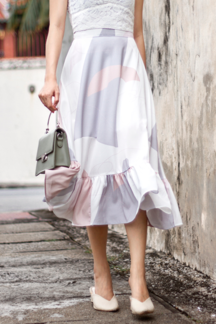 LUNA FLARE MIDI SKIRT (PASTEL ABSTRACT)