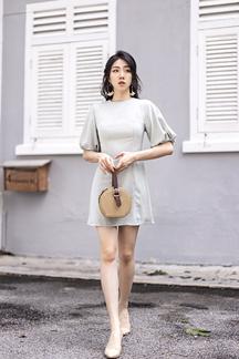 DARINA ROUND NECK SHEATH DRESS (SAGE GREEN)