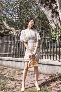 DARINA ROUND NECK SHEATH DRESS (FLORAL)
