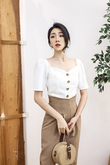 SONA BUTTON FRONT TOP (WHITE)