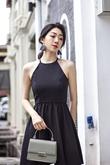 RIEKA HALTER NECK MINI DRESS (BLACK)