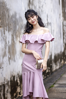 HANIELA OFF SHOULDER RUFFLES DRESS (MAUVE)