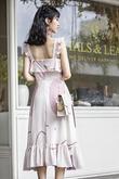 MARISSA RUFFLES FLARE DRESS (PINK ABSTRACT)