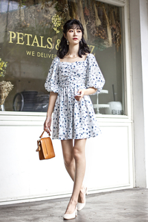 CASSIA RUCHED BALLOON SLEEVES DRESS (FLORAL)