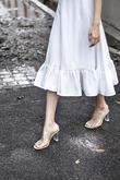 MARISSA RUFFLES FLARE DRESS (WHITE)