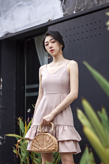 CHERIE LAYERED RUFFLES HEM DRESS (NUDE)