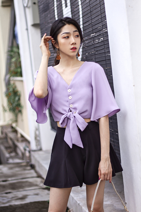 LILA FLARE SLEEVES BUTTON DOWN TOP (LAVENDER)
