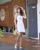 MORIE RUCHED FLARE DRESS (WHITE)