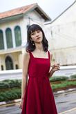VERONICA SQUARE NECK SLIT DRESS (RED)