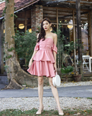 JOSELLE BARDOT TIERED DRESS (PINK)