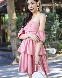JOSELLE BARDOT TIERED DRESS (PINK)